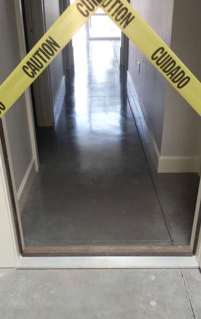 gray polished floor